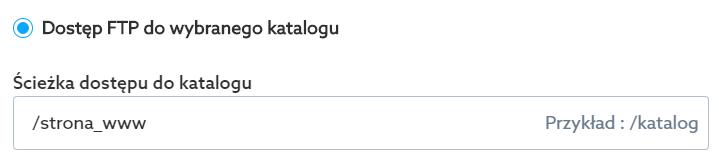Panel klienta home.pl - Poczta - Skrzynki e-mail - Uprawnienia FTP - Zaznacz opcję Dostęp FTP do wybranego katalogu jeśli chcesz umożliwić dostęp do serwera FTP, ale tylko do wybranego katalogu oraz jego podkatalogów