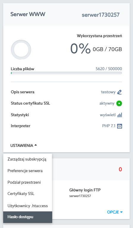 Panel Klienta home.pl - Usługi WWW - W sekcji Serwer WWW kliknij Ustawienia i wybierz opcję Hasło dostępu