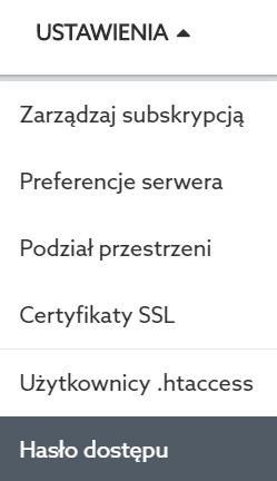 Panel Klienta home.pl - Usługi WWW - Wybrana usługa - Znajdź moduł o nazwie serwer WWW i kliknij przycisk Ustawienia, a następnie Hasło dostępu