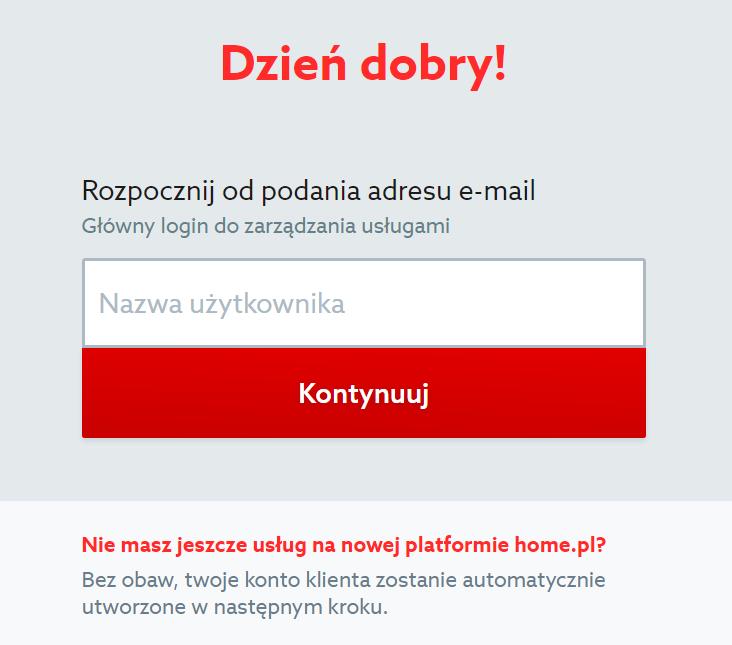 Home.pl - Office 365 - Pakiet - Zamów - Identyfikacja użytkownika - Podaj adres e-mail