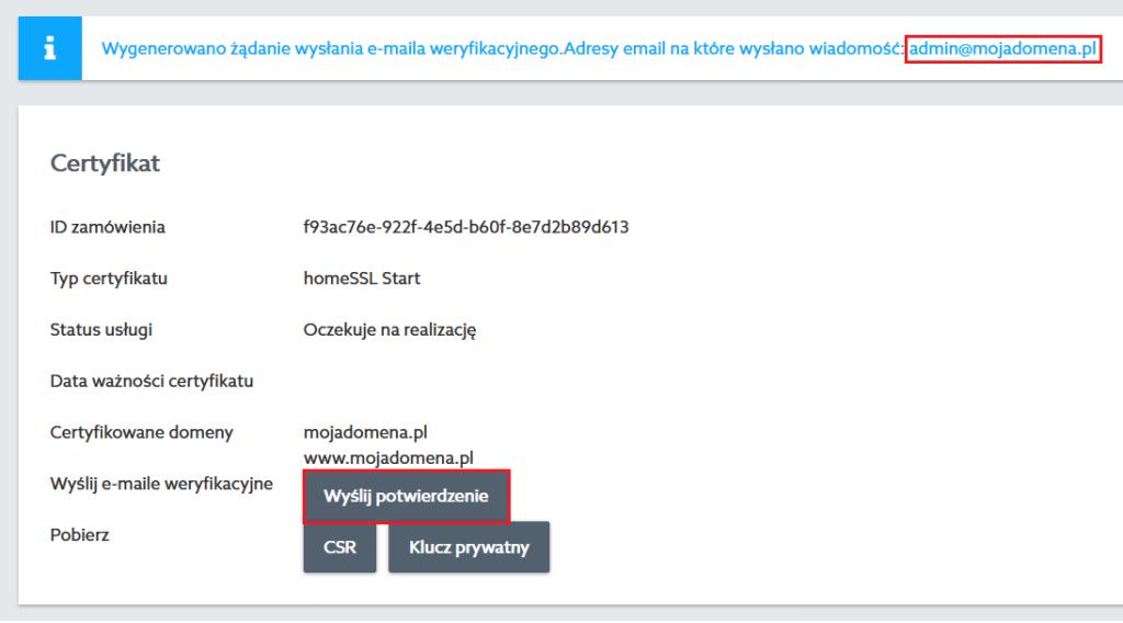 Jak potwierdzić zamówienie certyfikatu SSL w home.pl?