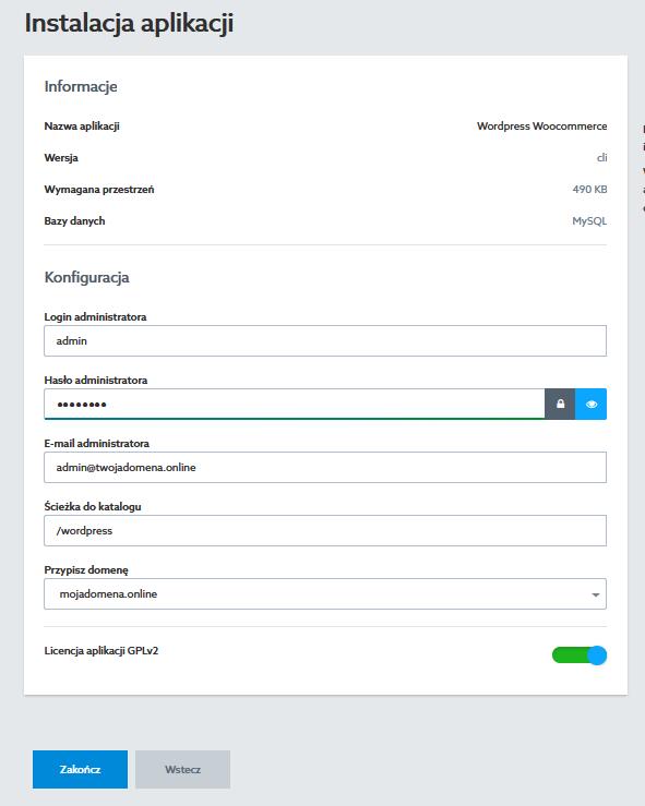 Panel klienta home.pl - Usługi WWW - Wybrany hosting - Instalacje - Nowa - CMS, blog - Instalacja aplikacji - Uzupełnij formularz