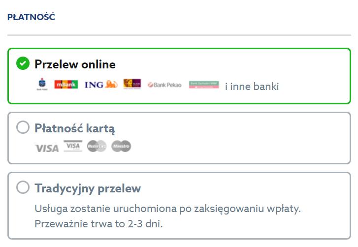 Home.pl - Sklepy - Sklepy internetowe - Pakiety usług - Wybieram - Koszyk - Zamów - Identyfikacja klienta - Podsumowanie zamówienia - Płatność - Wybierz metodę płatności
