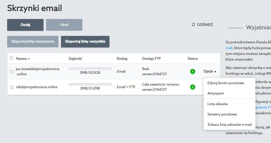 W Panelu klienta możesz edytować ustawienia skrzynki e-mail