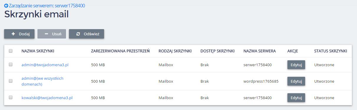 Panel Klienta home.pl - Usługi WWW - Serwer - Zarządzaj - Poczta - Wszystkie skrzynki pocztowe - Przykładowa lista skrzynek e-mail, które są utworzone na danym serwerze