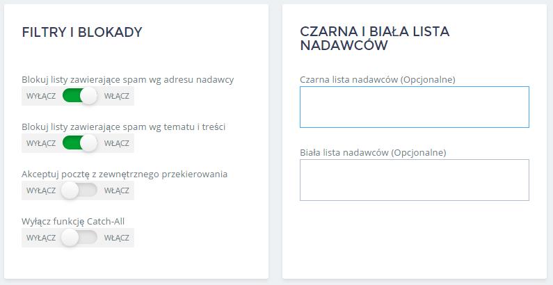 Panel Klienta home.pl - Poczta - Skrzynki e-mail - Antyspam - Zmień ustawienia antyspamowe dla wybranej skrzynki e-mail