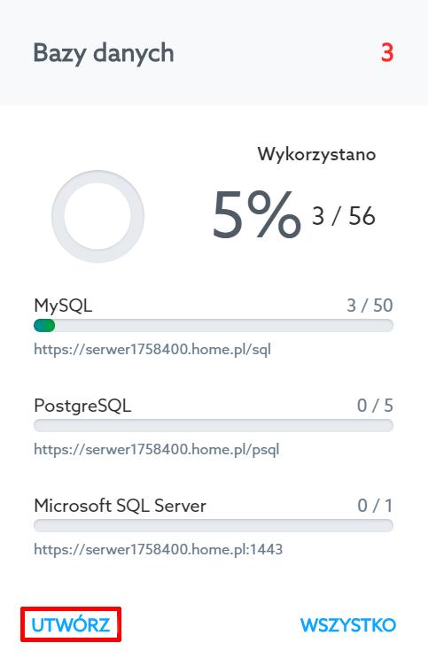 Panel Klienta home.pl - Usługi WWW - Serwer - Bazy danych - Kliknij przycisk Utwórz, aby utworzyć nową bazę danych na wybranym serwerze
