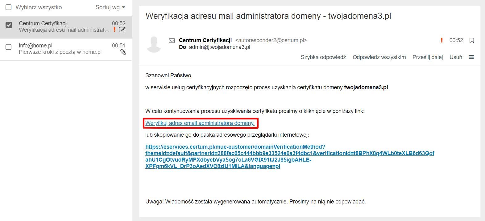 Przykładowa wiadomość e-mail - Link potwierdzający zamówienie certyfikatu SSL - Kliknij zawarty w tej wiadomości link