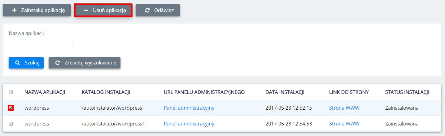 Panel Klienta home.pl - Hosting - Zarządzaj - Serwis WWW - Autoinstalatory - Lista aplikacji - Zaznacz wybraną aplikację i kliknij przycisk Usuń aplikację