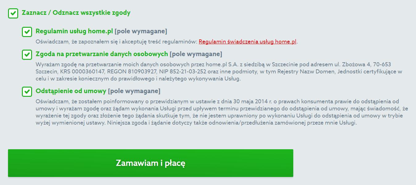 Oferta home.pl - Certyfikat SSL - Wybieram - Przechodzę do koszyka - Identyfikacja klienta - Zaakceptuj regulaminy i zaznacz wszystkie zgody