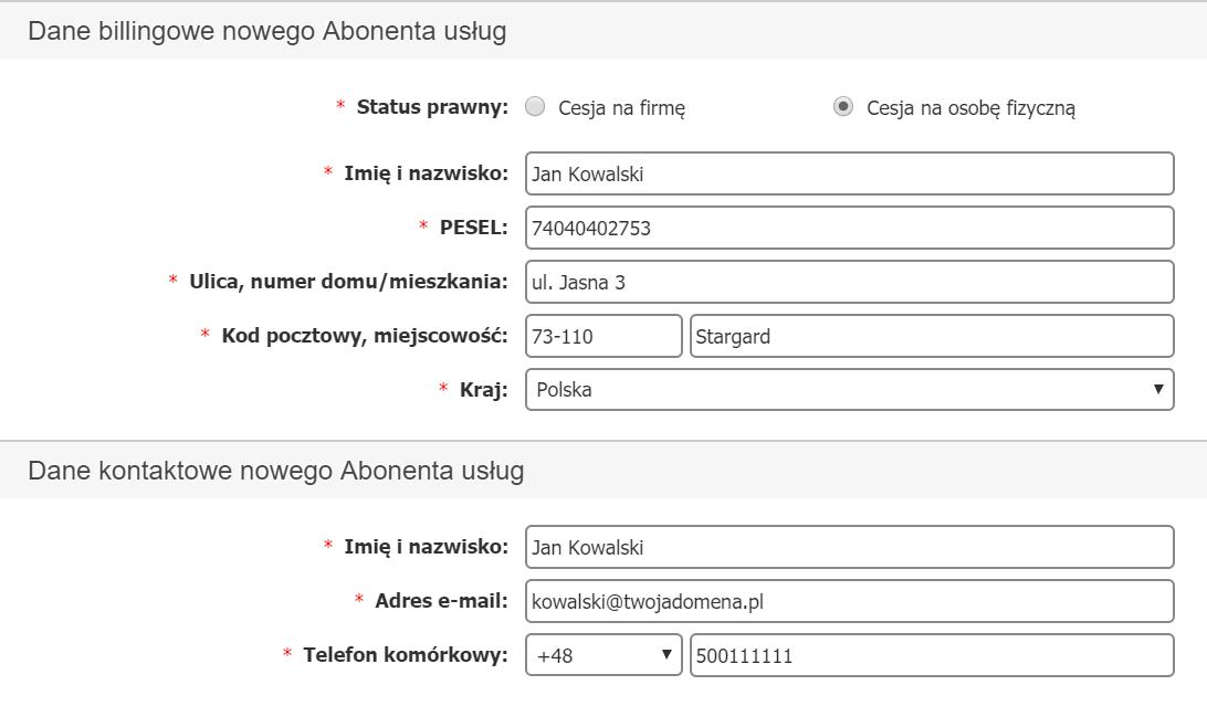 Panel klienta - Usługi - Wybrana usługa - Cesja - Cesja premium - Wpisz kompletne dane nowego Abonenta cedowanych usług
