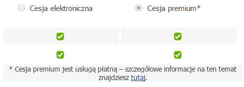 Panel klienta - Usługi - Wybrana usługa - Cesja - Wybierz opcję Cesja premium