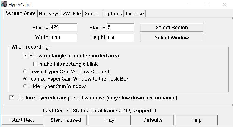 Nagrywaniu pulpitu w programie HyperCam - Ustaw wybrane ustawienia