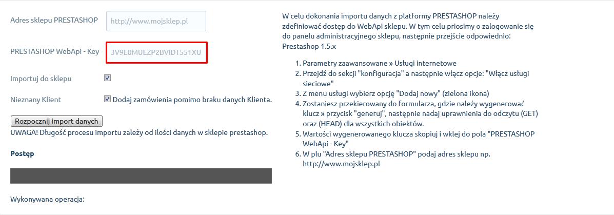 eSklep - Aplikacje - Moje aplikacje - Prestashop Migrator - Adres sklepu Prestashop - Podaj adres URL sklepu, którego migrację danych chcesz przeprowadzić