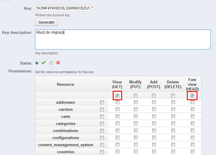 eSklep - Aplikacje - Moje aplikacje - Prestashop Migrator - Prestashop WebApi Key - Podaj klucz WebApi Prestashop