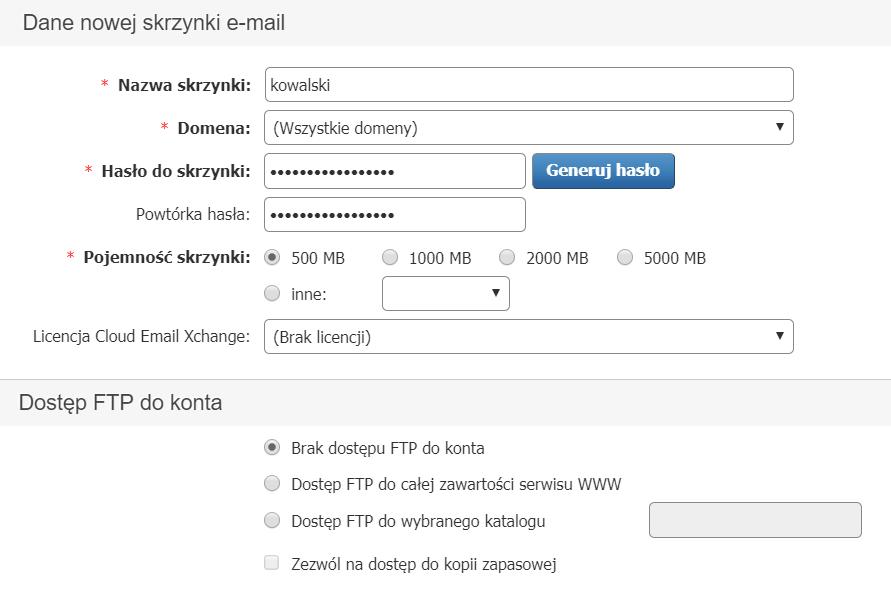 bdbd9978493b4 Panel Klienta - Usługi - Wybrana usługa - Konfiguracja usługi - Skrzynki e- mail -