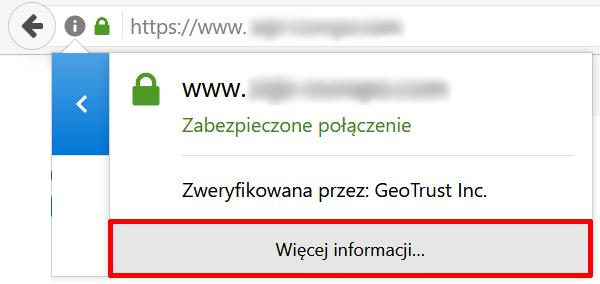 Firefox - Pasek adresu - Adres zabezpieczonej domeny - Ikona kłódki - Ikona strzałki - Kliknij przycisk Więcej informacji