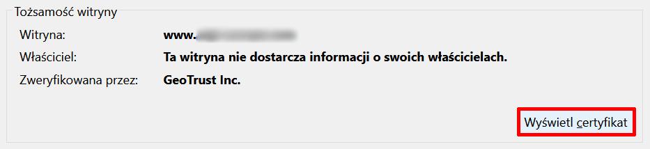 Firefox - Pasek adresu - Adres zabezpieczonej domeny - Ikona kłódki - Ikona strzałki - Więcej informacji - Kliknij przycisk Wyświetl certyfikat