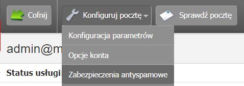 Panel klienta - Usługi - Wybrana skrzynka email - Konfiguracja usługi - Konfiguruj pocztę - Wybierz opcję Zabezpieczenia antyspamowe