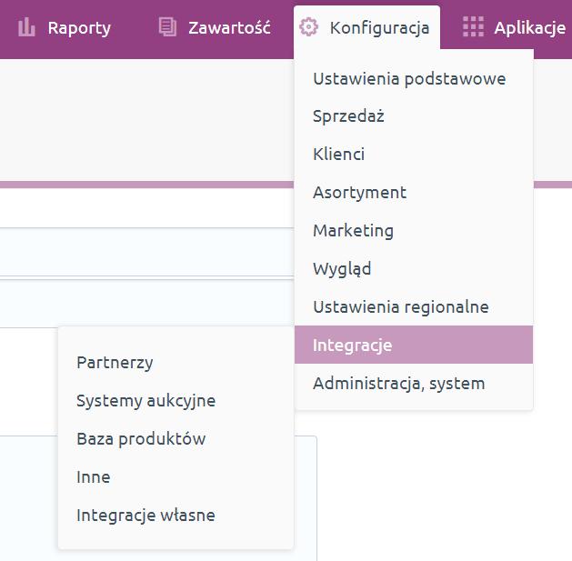Sklep internetowy - Konfiguracja - Integracje - Wybierz opcje menu Baza produktów