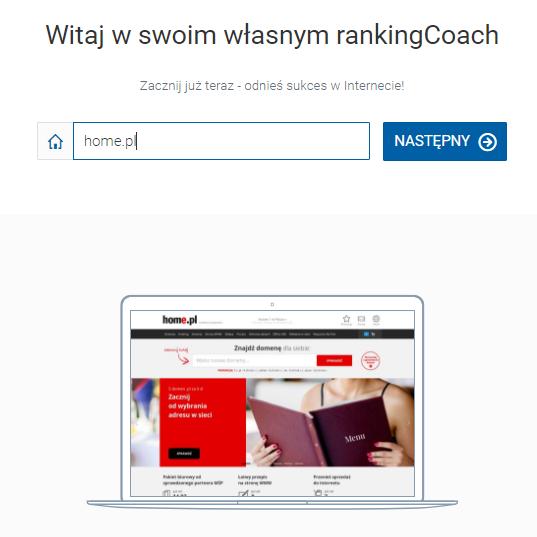 rankingCoach - Wskaż adres strony WWW dla której chcesz wykonać optymalizację