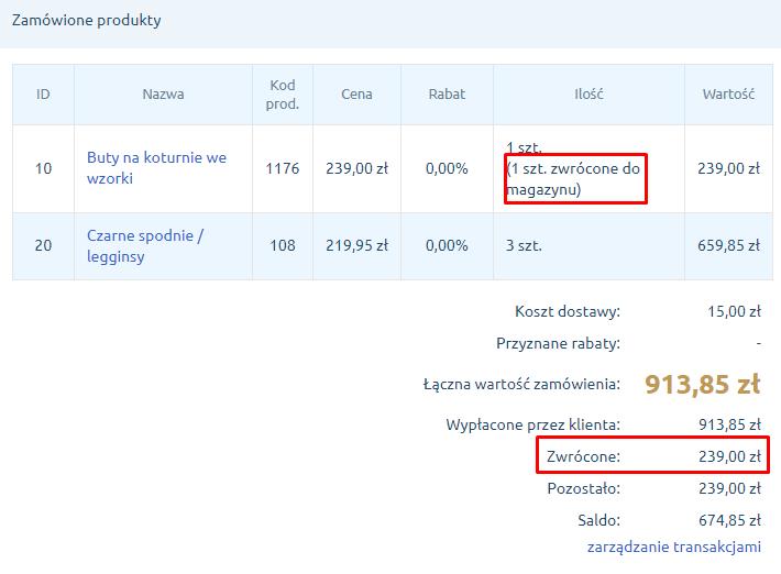 eSklep - Sprzedaż - Zamówienia - Na liście zamówień znajdziesz dodatkowe informacje o wykonanym zwrocie