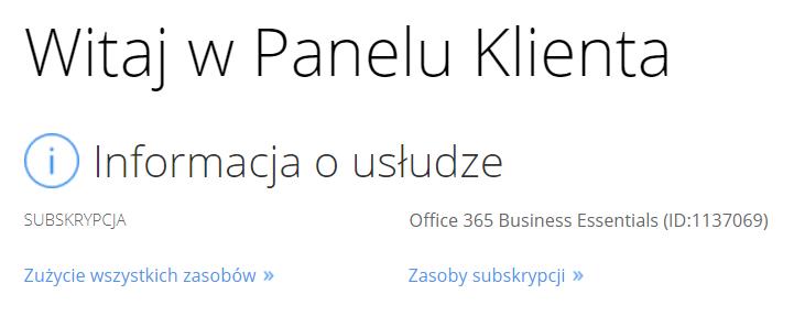 cp.market.home.pl - Wybierz typ usługi - Kliknij przycisk Zasoby subskrypcji
