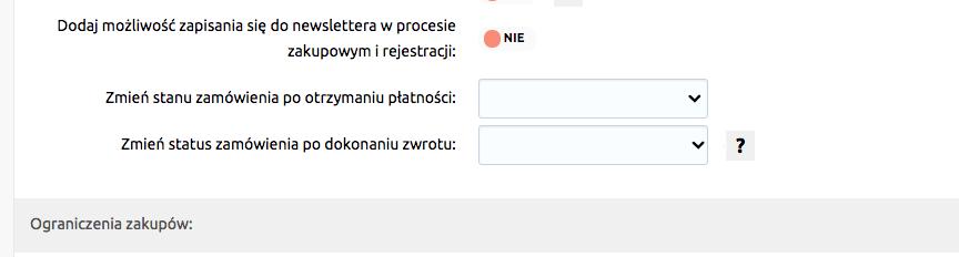 eSklep - Konfiguracja - Zmień status zamówienia po otrzymaniu płatności oraz status zamówienia po dokonaniu zwrotu