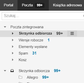 Poczta home.pl - Główny widok - Skrzynka odbiorcza - Nowy folder Poczta zintegrowana