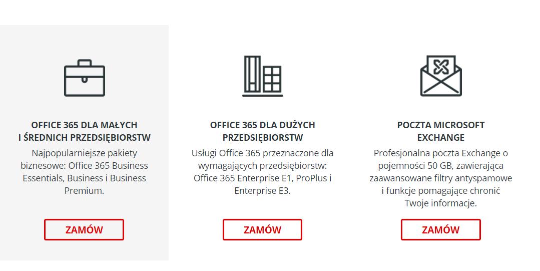 cp.market.home.pl - Sklep - Zakup dodatkowe usługi - Wybierz interesujący Cię pakiet Office 365 dla małych i dużych przedsiębiorstw