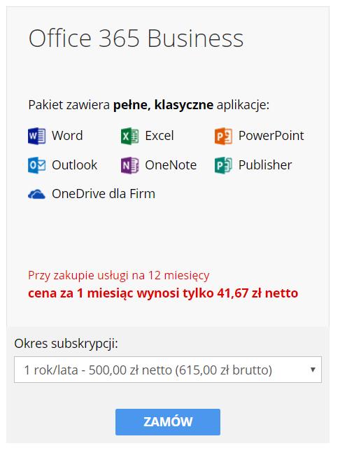 cp.market.home.pl - Sklep - Zakup dodatkowe usługi - Pakiety Office 365 - Okres subskrypcji - Wybierz czas działania licencji