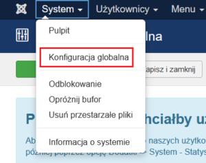 System -> Konfiguracja globalna