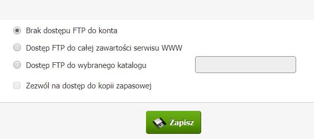 Panel klienta home.pl - Usługi - Lista powiązanych usług - Konfiguracja usługi - Konfiguruj pocztę - Konfiguracja parametrów - Zaznacz opcję Brak dostępu FTP do konta