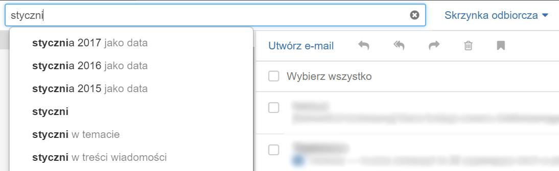 Poczta home.pl - Kryteria wyszukiwania - Kryterium wyszukiwania miesiąca - Wpisz nazwę miesiąca