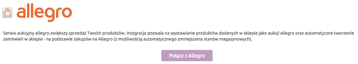 Sklep internetowy - Integracje - Systemy aukcyjne - Konfiguracja - Kliknij przycisk Połącz z Allegro
