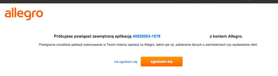 Serwis Allegro - Autoryzacja aplikacji sklepu - Kliknij przycisk Zgadzam się