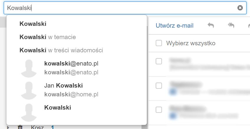 Poczta home.pl - Wyszukiwarka wiadomości - Pole tekstowe - Nadawca - Wpisz nazwę nadawcy i kliknij na jego nazwę