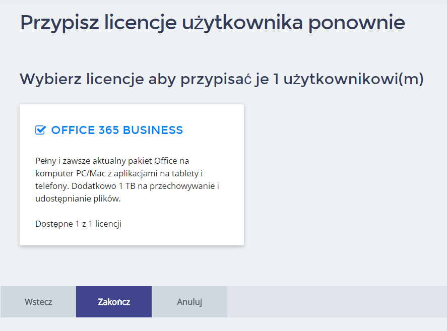 Panel Klienta home.pl - Office 365 - Przypisz licencję użytkownika ponownie - Wybierz pakiet Office 365 z którego licencję chcesz przypisać użytkownikowi