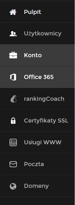 Panel Klienta home.pl - Przejdź do sekcji menu Office 365