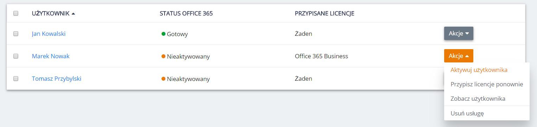 Panel Klienta home.pl - Office 365 - Lista - Akcje - Wybierz opcję Aktywuj konto