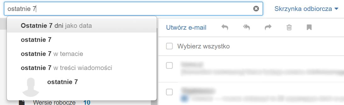 Poczta home.pl - Kryteria wyszukiwania - Kryterium wyszukiwania przedziałów czasowych - Wpisz frazy: ostatnie 7 dni, ostatnie 30 dni, ostatnie 365 dni