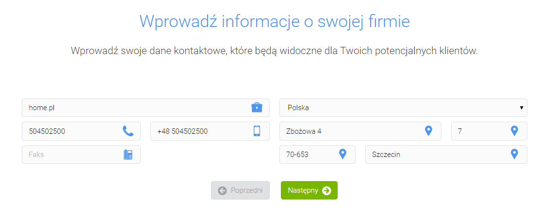 rankingCoach - Adres strony WWW - Wprowadź informacje o swojej firmie: dane kontaktowe, nazwę, telefon, adres
