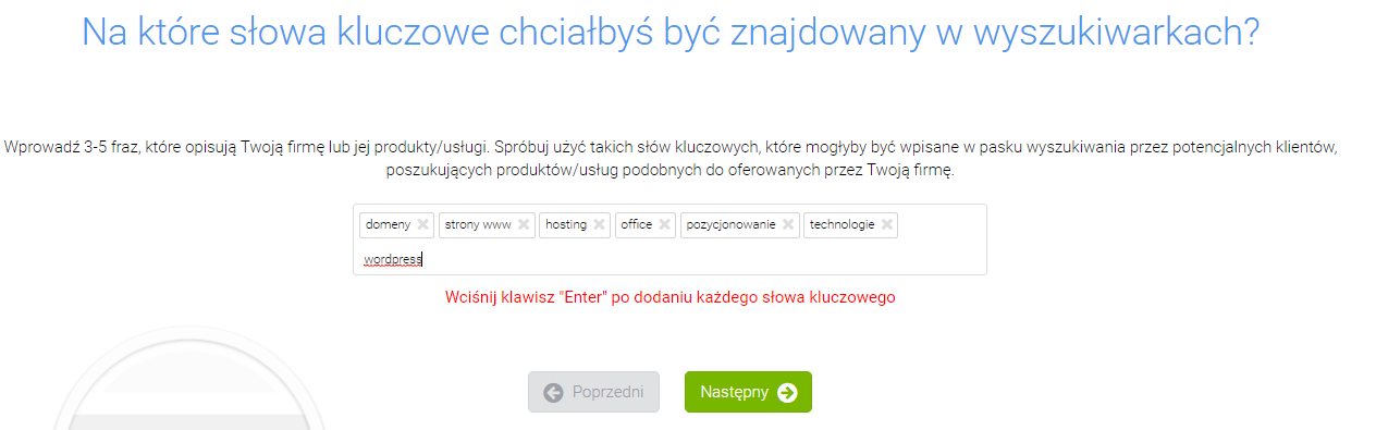 rankingCoach - Adres strony WWW - Na które słowa kluczowe chciałbyś być znajdowany w wyszukiwarkach? - Określ frazy i słowa kluczowe