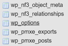 phpMyAdmin - Baza danych - Z listy tabel znajdź i kliknij tabelę o nazwie wp_options