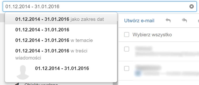 Poczta home.pl - Kryteria wyszukiwania - Kryterium wyszukiwania dat - Wpisz dwie daty oddzielone myślnikiem