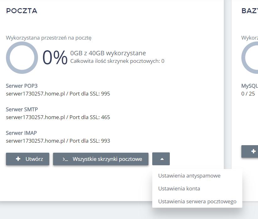 Panel Klienta home.pl - Usługi WWW - Serwer - Poczta - Kliknij przycisk Akcji i wybierz opcję Ustawienia antyspamowe