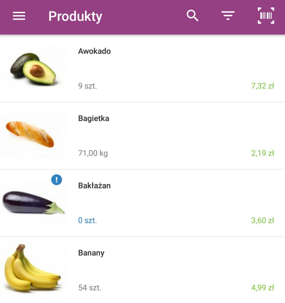 Sklep internetowy - Aplikacja mobilna - Pulpit startowy - Menu - Produkty - Sprawdź listę produktów
