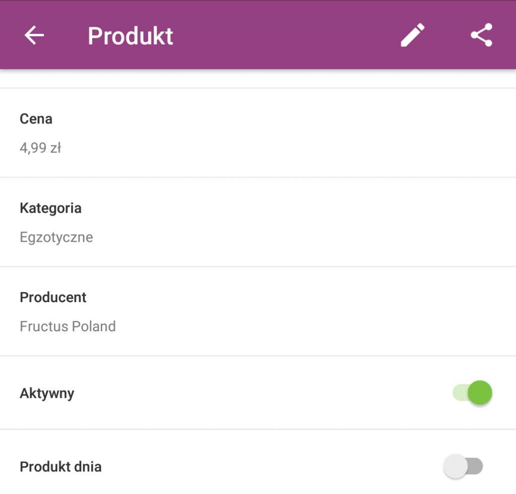 Sklep internetowy - Aplikacja mobilna - Pulpit startowy - Menu - Produkty - Wyświetl szczegółowe informacje na temat danego produktu