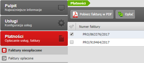 Panel klienta - Płatności - Wybierz podopcję menu Faktury nieopłacone