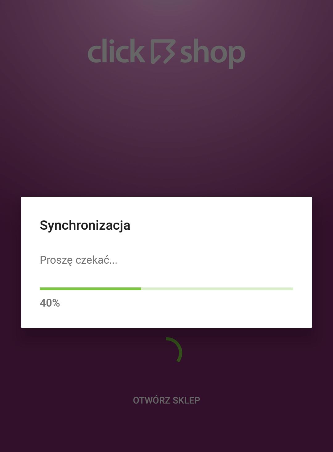 Sklep internetowy - Aplikacja mobilna - Synchronizacja - Ładowanie